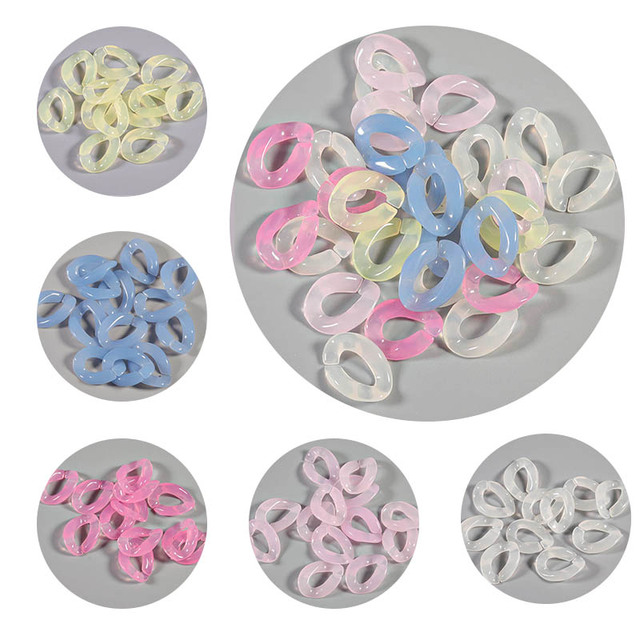 SAUVOO 50pcs Resin Acrylic Candy Color Chain Buckle DIY Handbag Key Strap Necklace Pendant Hook Colored Buckle Beads Accessories
