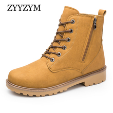 ZYYZYM Winter Mens Boots Plush Keep Warm Lace-Up Style Ankle Fashion Outdoors Snow Man Motorcycle Zapatos De Hombre