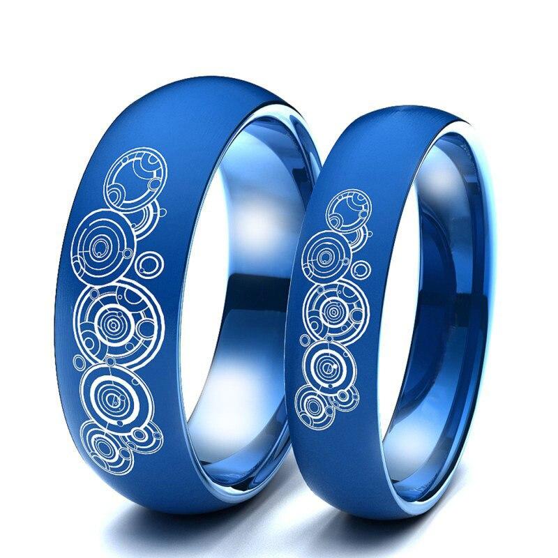 6 mm Classique Bague De Mariage Pour Hommes Or//Bleu//Argent Couleur Acier Inoxydable Cadeau