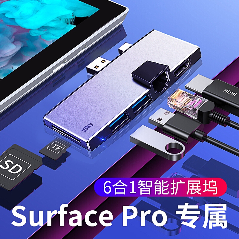 ISky For Microsoft Surface USB Hub For Surface Pro5 Pro6  Hub Port Replicator  USB3.0 HDMI LAN Ethernet SD TF Surface Pro Hub