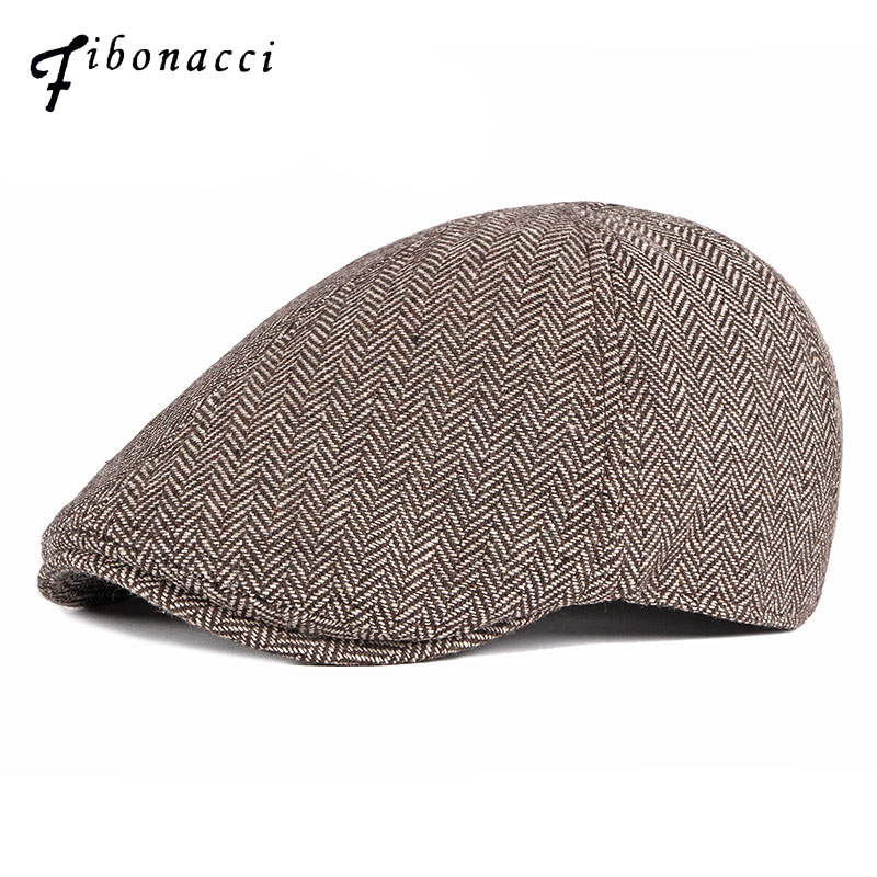 Classic Black Cow Leather Beanie For Men Plaid Hat Beret Cap With with Ears Warm