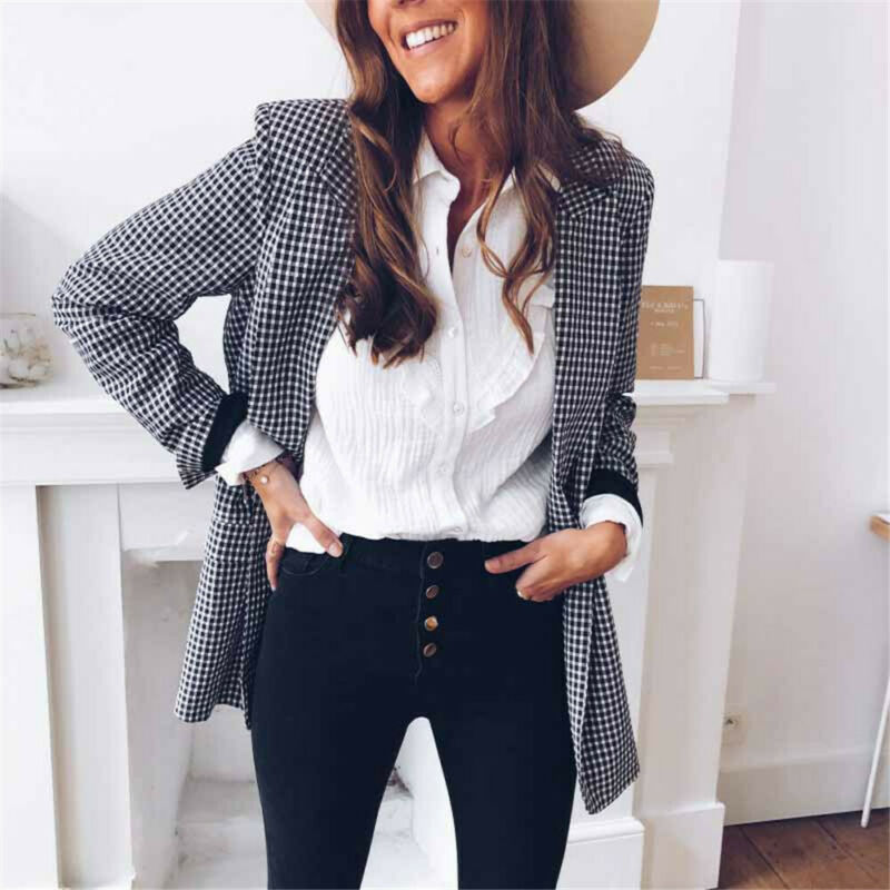 2019 New Women Blazer Coat Long Sleeve Notched Plaid Open Stitch Pocket Loose Casual Slim Jacket Coat