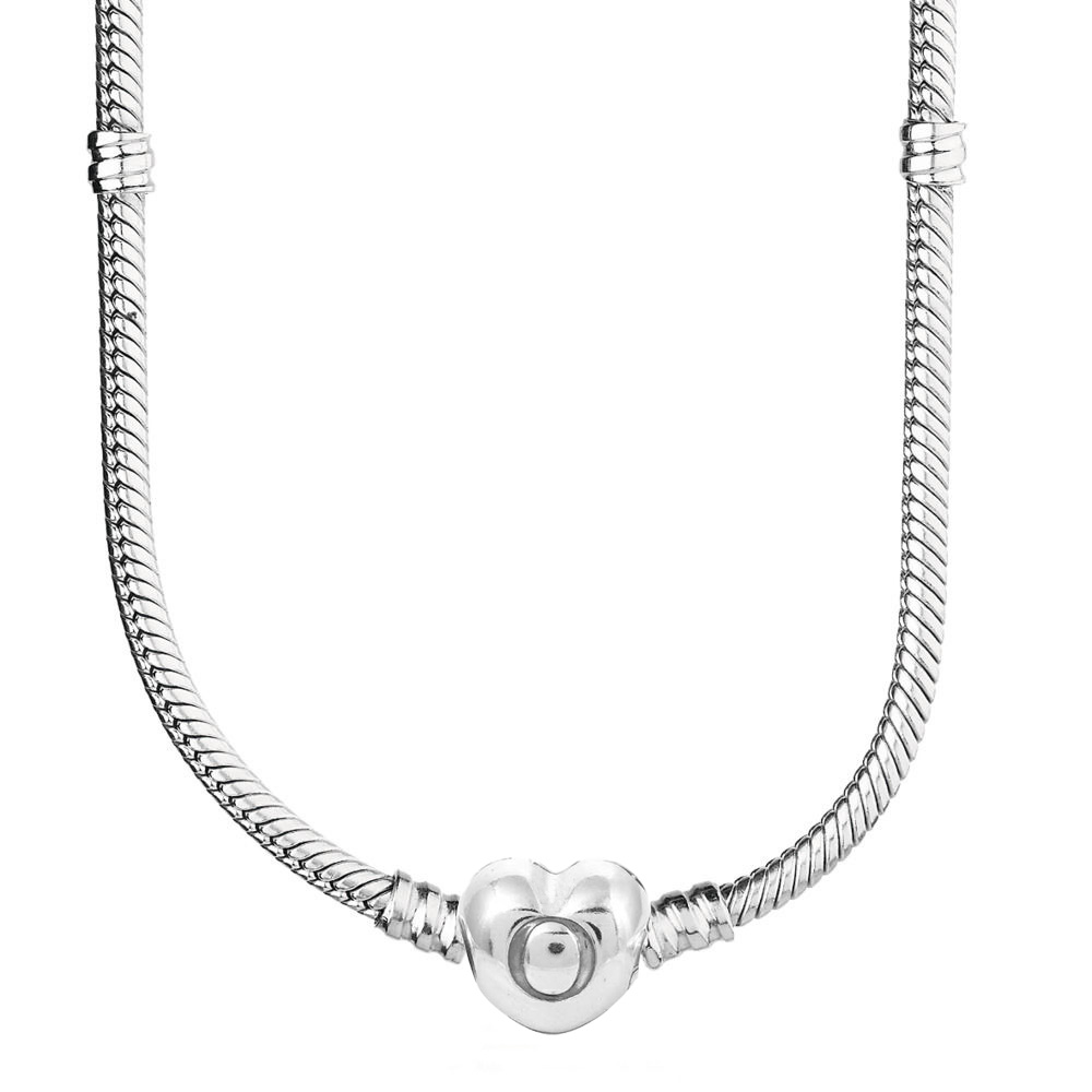 Original Smooth Love Heart Clasp Snake Chain Necklace For 925 Sterling Silver Bead Charm Necklace Fine DIY Jewelry