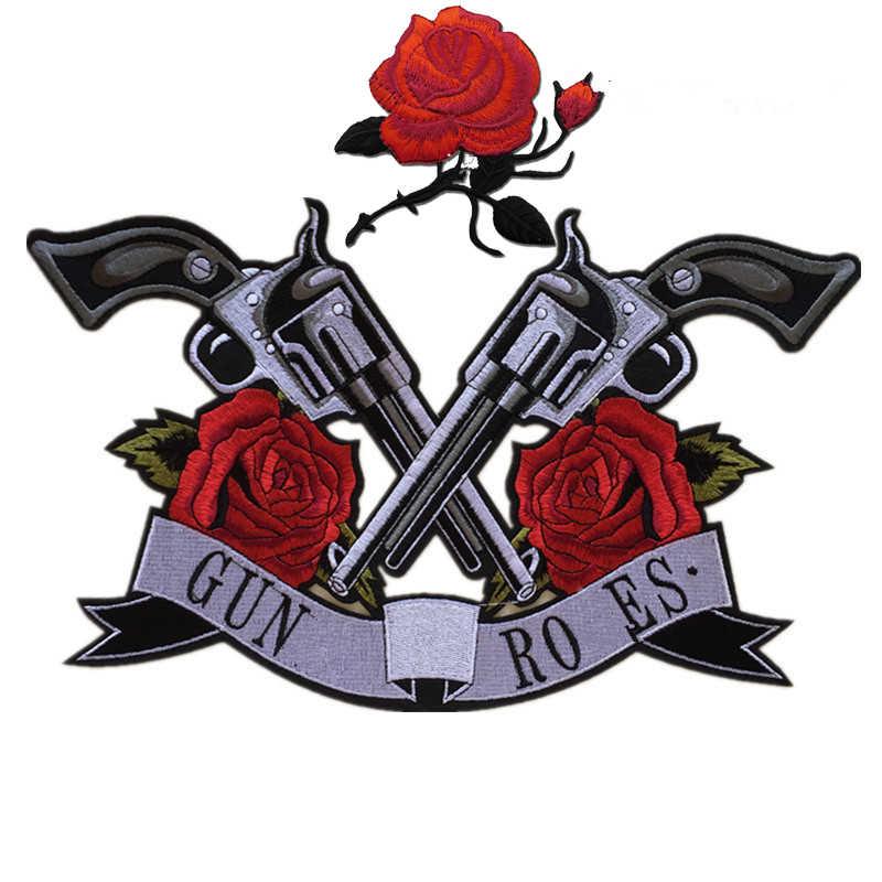 Gun Bunga Mawar Bunga Bordiran Pakaian Bordir Patch Stiker Kain Besi Pada Menjahit Pada Patch untuk Pakaian Diy Besar Biker parches