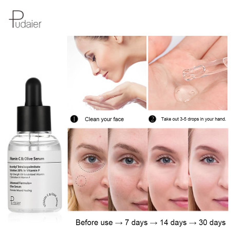 Pudaier 50ml Face Serum Vitamin C Olive Serum Improve Complexion Moisturzing Whitening Hyaluronic Acid Cream Bright Skin Care