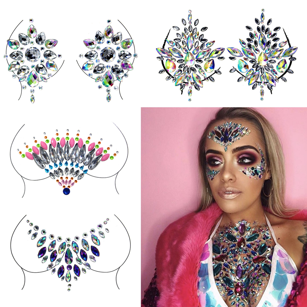 Hot Sexy Chest Crystal Resin Drill Tattoo Sticker Bar Music Festival Rhinestone Tattoo Stickers Carnival Party Makeup Highlight