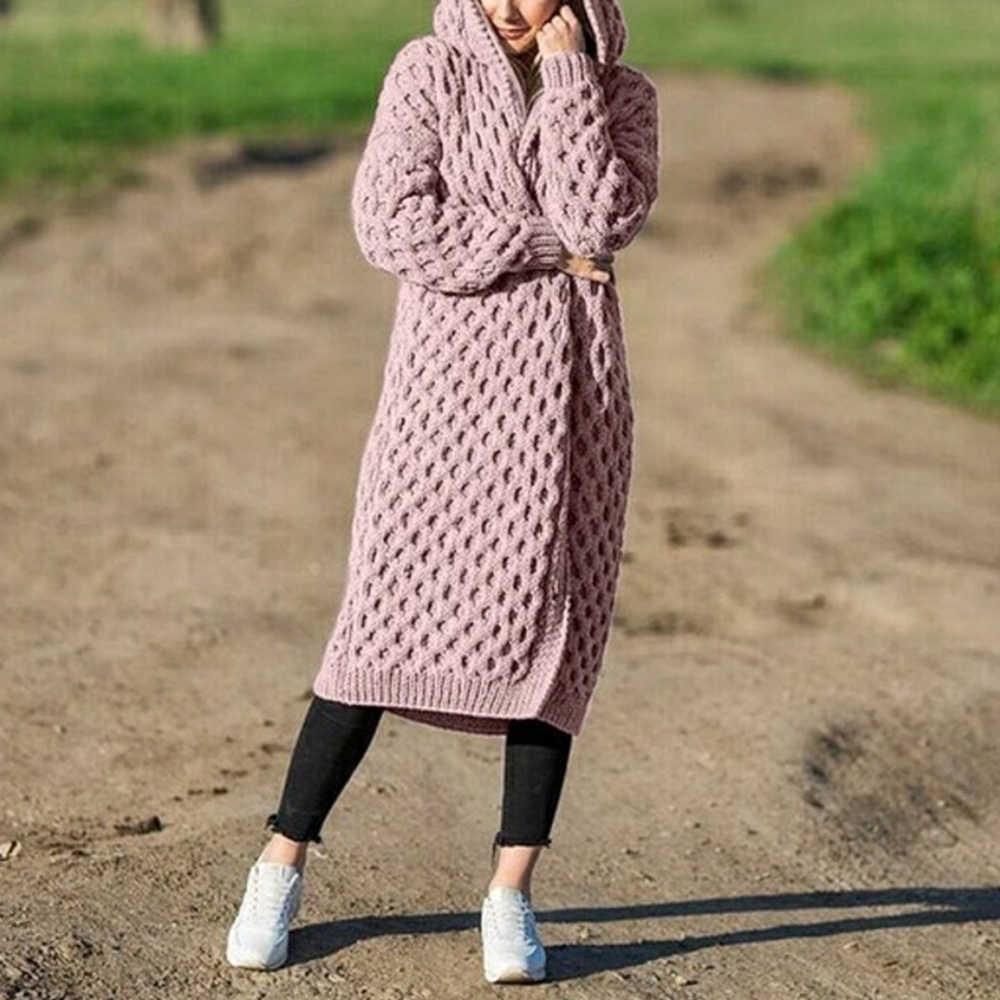Vertvie Donne Ha Lavorato A Maglia Cardigan Cappotto di Autunno Allentato Con Cappuccio Cardigan Lungo Femminile A Maniche Lunghe Vintage Maglione Outwear Più Il Formato Cappotti