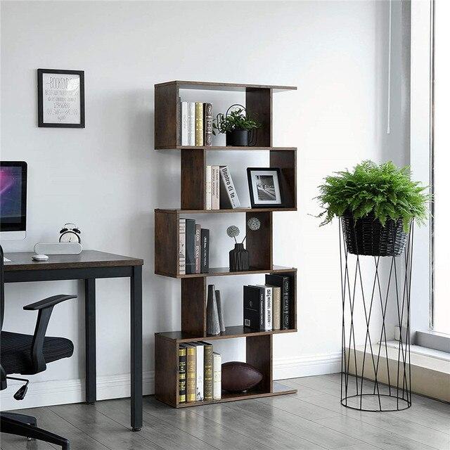 Staggered Bookcase Wooden Industrial Style 5-Tier Display Rack Room Divider Freestanding Storage Shelf Bookshelf Vintage Color 2