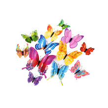 12pcs / lot 3d Effect Butterfly Wall Sticker Cute Butterfly Crystal for Kids Room Wall Decals Home Decoration on the Wall room decoration flower rattan butterfly pattern wall sticker