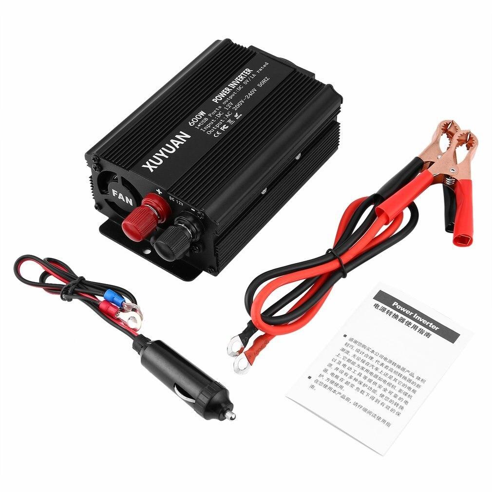 Nowa profesjonalna przetwornica napięcia USB 600W DC 12V do AC 220V ze wskaźnikiem LED konwerter samochodowy na sprzęt agd