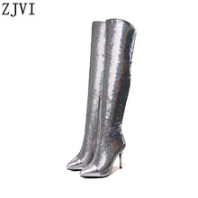ZJVI 2019 woman genuine leather over the knee boots for women winter thigh thin high heels sliver girls ladies pointed toe shoes
