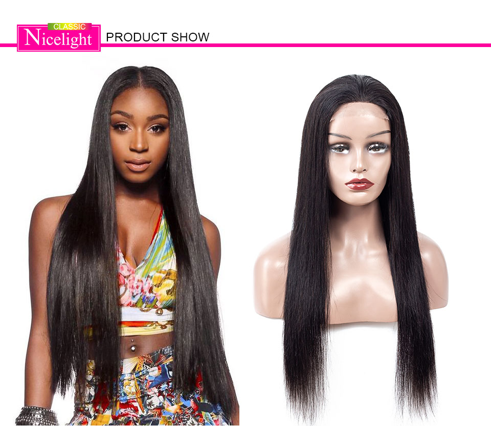 H45792700fa5a45a9824999f705b008a5z Straight Closure Wig Human Hair Wigs With Closure 4X4 Lace Wig Nicelight Indian Wig Remy Natural Hair Long Black Closure Wig