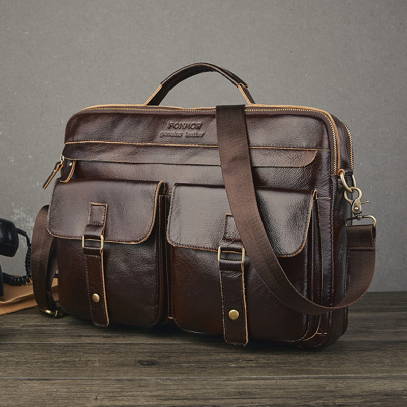 Real Oil Waxing Cowhide Briefcase Genuine Leather Computer Office Bags For Men Laptop Business Work Bag Men Handbag Bolso Hombre