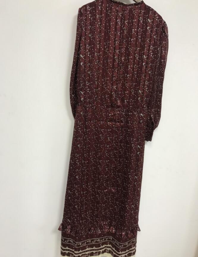 2019 Nuovo Vino rosso Delle Donne Maxi Vestito Vintage Printted increspato manica lunga lunga abiti da vacanza-in Abiti da Abbigliamento da donna su  Gruppo 3