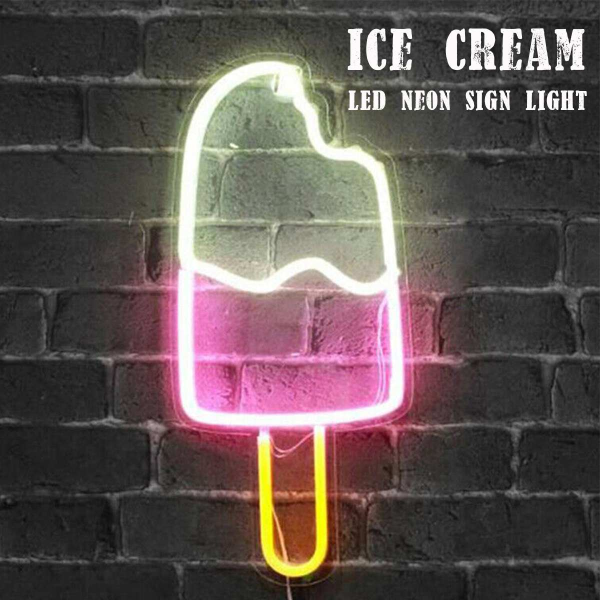 LED Neon Sign Light Ice Cream Neon Tube for Beer Bar Wall Decoration Bedroom Home Party Christmas Gift 45.1x20.3CM Neon Lamp image