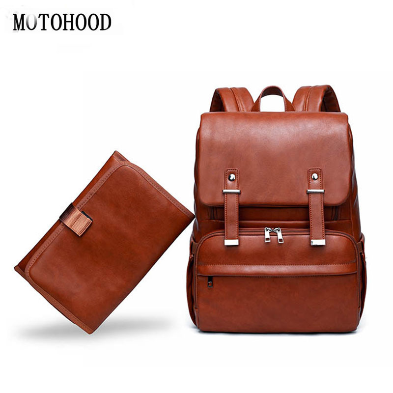MOTOHOOD Baby Diaper Bags For Mom Mother Bag Pu Leather Insulated Mummy Backpack Maternity Nappy Bag Infant Bag For Stroller