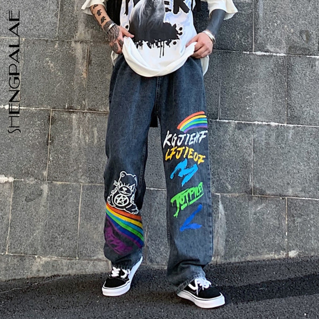 SHENGPALAE 2021 New Summer Autumn Casual Jeans Woman Long Trousers Cowboy Female Loose Streetwear Graffiti Print Pants ZA5047 1