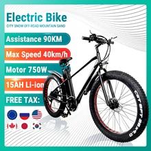 Electric Bike 750W 48V 15A ebike Mountain Bicycle Fat Tire e bike Adults Meb 26 Inch 21 Speed Aluminum Frame dual Disk brake