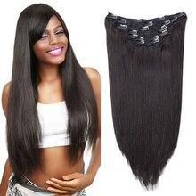 Sindra бразильские прямые человеческие волосы для наращивания на заколках, натуральные волосы remy, 90 г, 120 г# 1B, натуральный цвет, 14 дюймов-24 дюйма