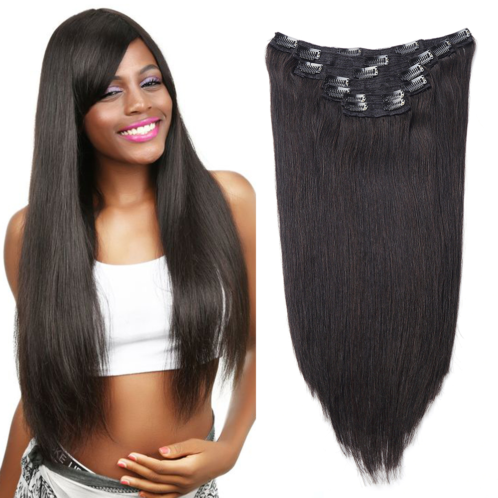 Sindra Brazilian Straight Clip In Human Hair Extensions Natural Remy Hair 90g 120G #1B Natural Color 14inch-24inch