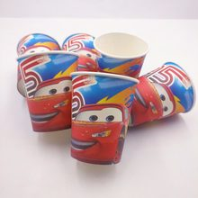 10pcs/bag Lightning Mcqueen Party Decoration Disposable Tableware Paper Cups Mcqueen Cartoon Pattern Kids Party Supplies(China)