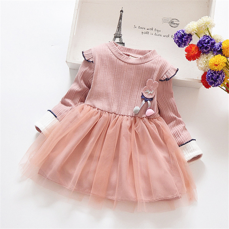 Autumn New Baby Girls Long Sleeve Dress Kids Soft Cotton Casual Clothes Children Solid Cute Sundress Clothing 2-7Y
