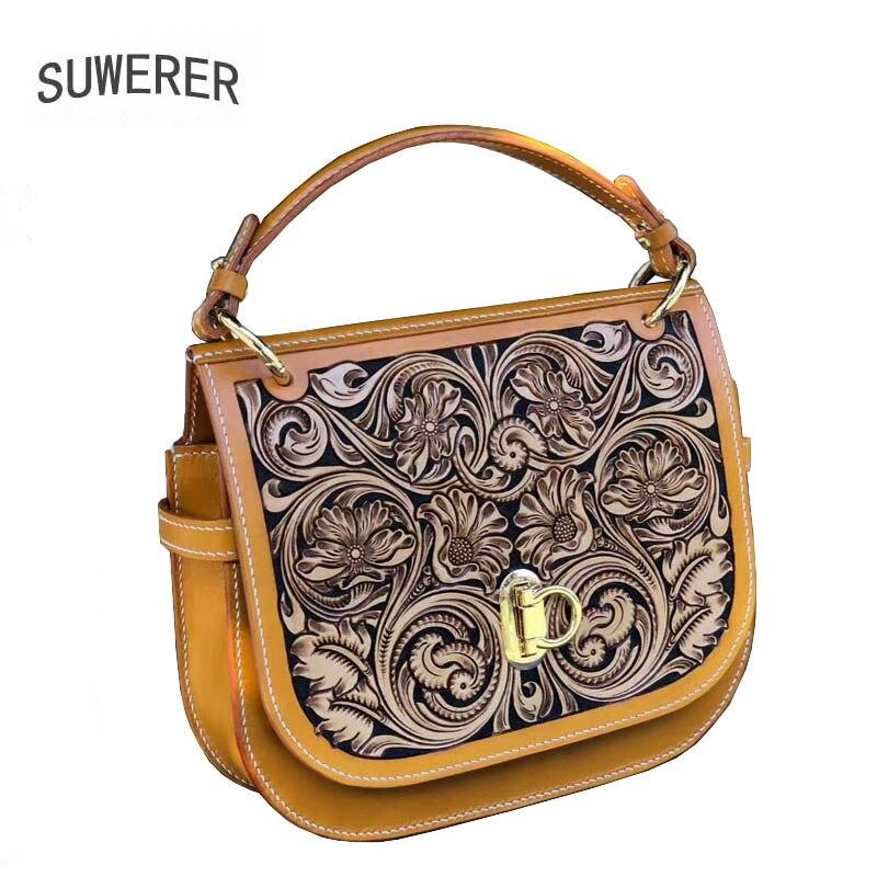 SUWERER Handmade Carved Genuine Leather Women Handbags Women famous brand quality Female bag luxury handbags women bags designer