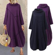 Plus Size Women's Patchwork Sundress ZANZEA 2020 Vintage Hoodies Dress Casual Long Sleeve Maxi Vesti