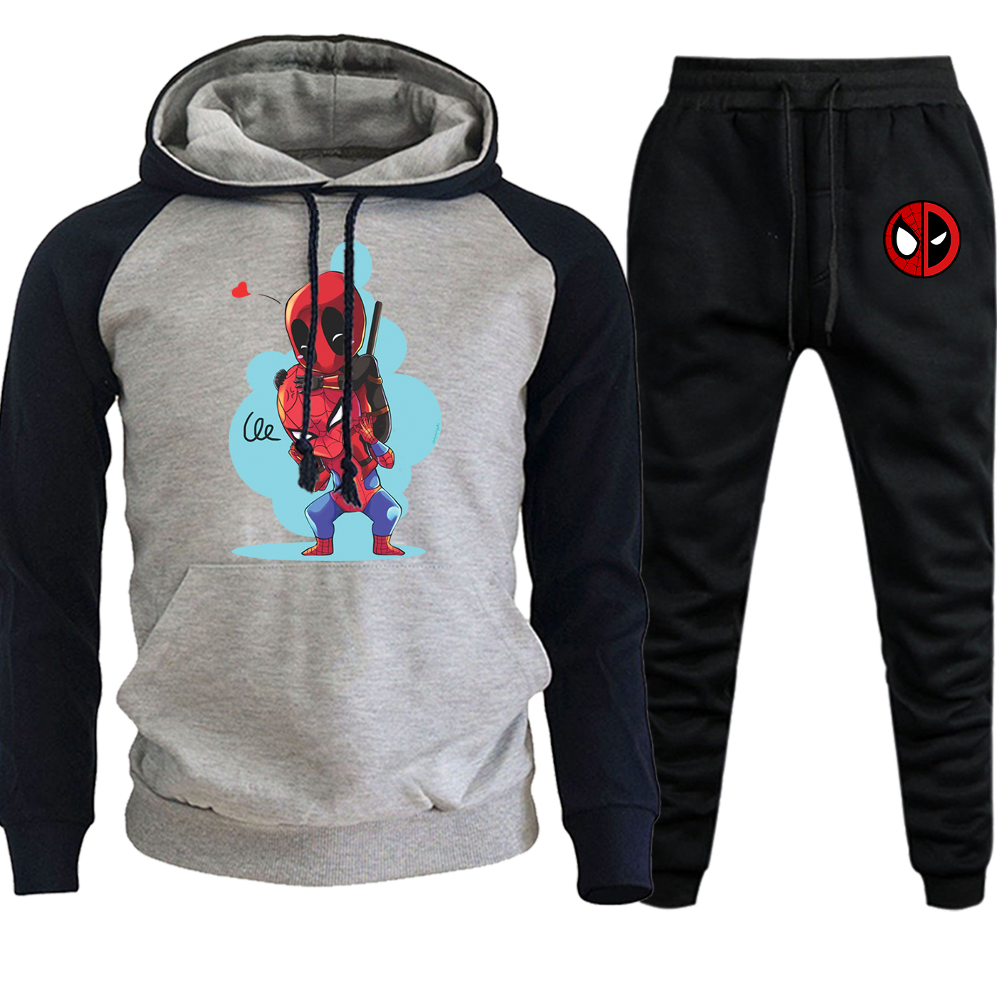 Spiderman And Deadpool Hooded Raglan Sweatshirts Autumn Hot Sale Marvel Suit Casual Pullover Fashion Hoodie+Pants 2 Piece Set