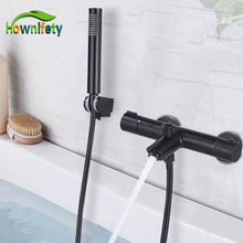 Bathtub Faucet Concealed Mixer Tap Shower-Set Thermostatic Black Wall-Mount Brass Chrome
