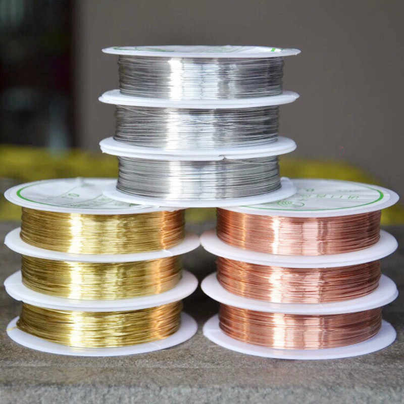 Hot 0.3/0.41mm Perak Warna Emas Alloy Cord Manik-manik Kawat Kerajinan DIY Membuat Perhiasan Anting-Anting Liontin Tali aksesoris