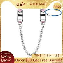 ATHENAIE Authentic 925 Sterling Silver Pink CZ Love Hearts Dangle Safety Chain Charm Fit Bracelets DIY Jewelry Valentines Day