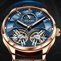 AILANG оригинальный бренд Мужские часы Роскошные Механические часы двойной турбийон стальной ремешок модные автоматические часы