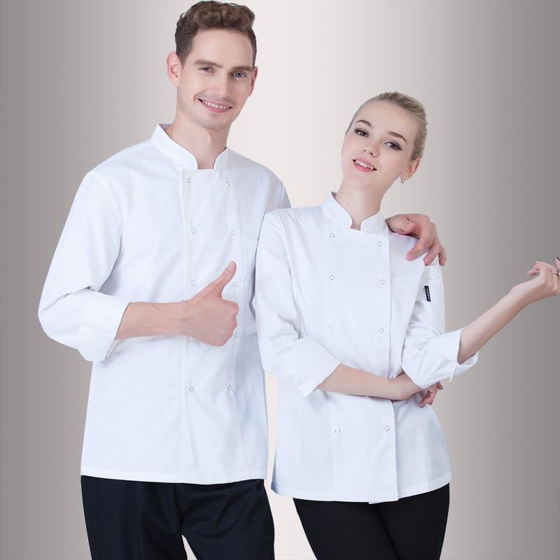 Male Female Hotel Restaurant Uniform Kitchen Chef Jacket Long-sleeve Adult Chef Uniform Unisex Cook Clothes Plus Size B-6264
