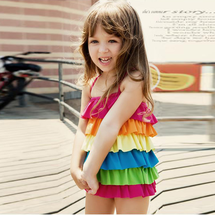 New Style Korean-style KID'S Swimwear Women's Dress-GIRL'S Swimsuit Rainbow Cute Baby Rainbow Bathing Suit