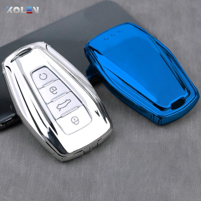 소프트 TPU 자동차 원격 키 케이스 커버 홀더 쉘 Geely Coolray 2019-2020 4 버튼 자동차 스타일링 액세서리 Fob 버클 키 체인