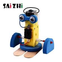Saizhi diy elétrica andando robô modelo kits crianças estudantes de ensino crianças a vapor experimento científico brinquedos educativos brinquedo