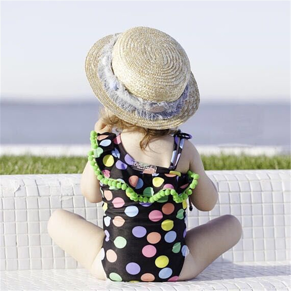 INS Europe And America 2018 Summer Girls Color Dotted Tassels Ball One-piece And Two-piece Swimsuits