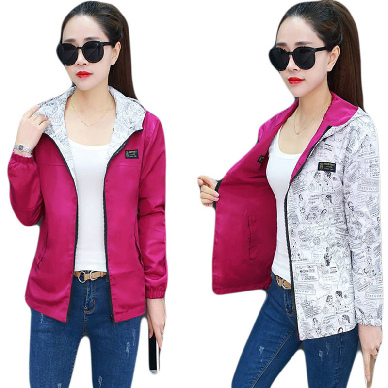 Spring Autumn Women Casual Basic Jacket Pocket Zipper Hooded Two Side Wear Print Outwear Loose Coats Big Size Women Clothes Y295