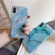 Sky blue marble phone cases for iphone 8 7 plus stone granite glossy soft silicone cover sequin xr x xsmax 6s 6