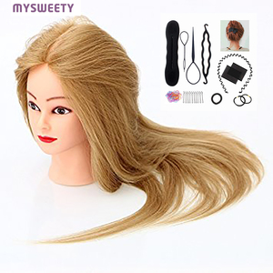 20 Inches 100% Human Real Hair Cosmetology Doll Mannequin Head Practice Styling for Straightening Curling Dyeing Bleaching(China)