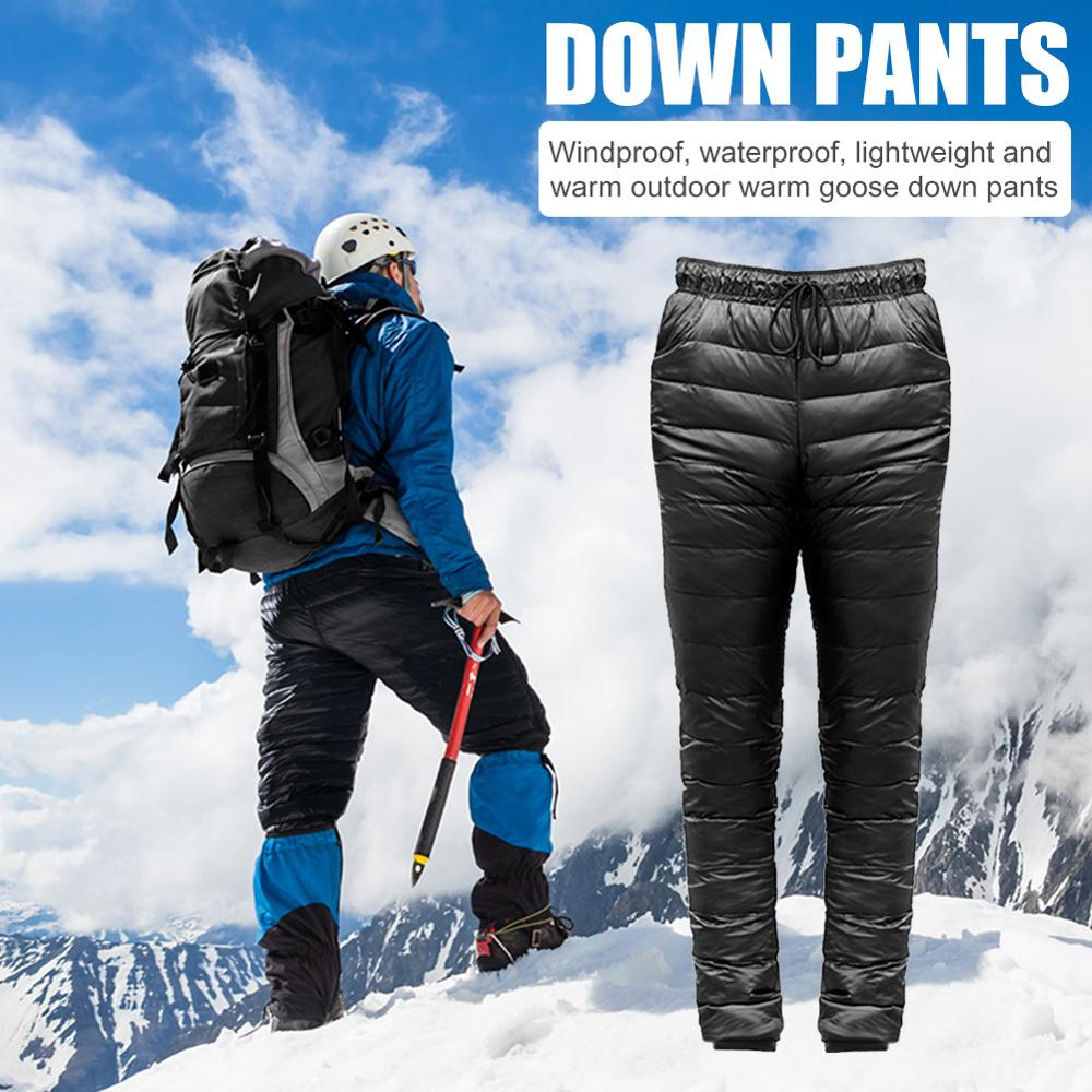 Men Outdoor Down Pants Skiing Thickened Climbing Warm Slim Trousers S-5XL