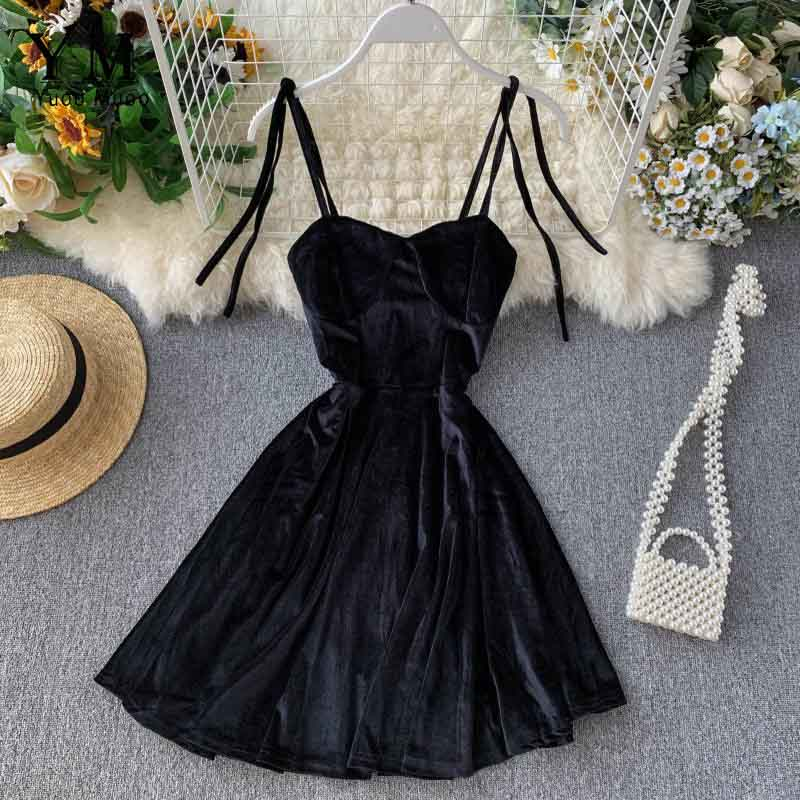 YuooMuoo Elegant Vintage Gothic Spaghetti Strap Dress 2019 Early Fall Basic Women Short Party Dresses Slim High Waist Mini Dress 6