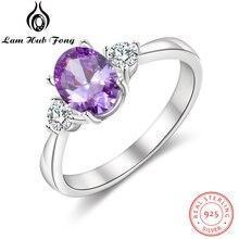 Женское овальное пурпурное каменное кольцо кольца из стерлингового
