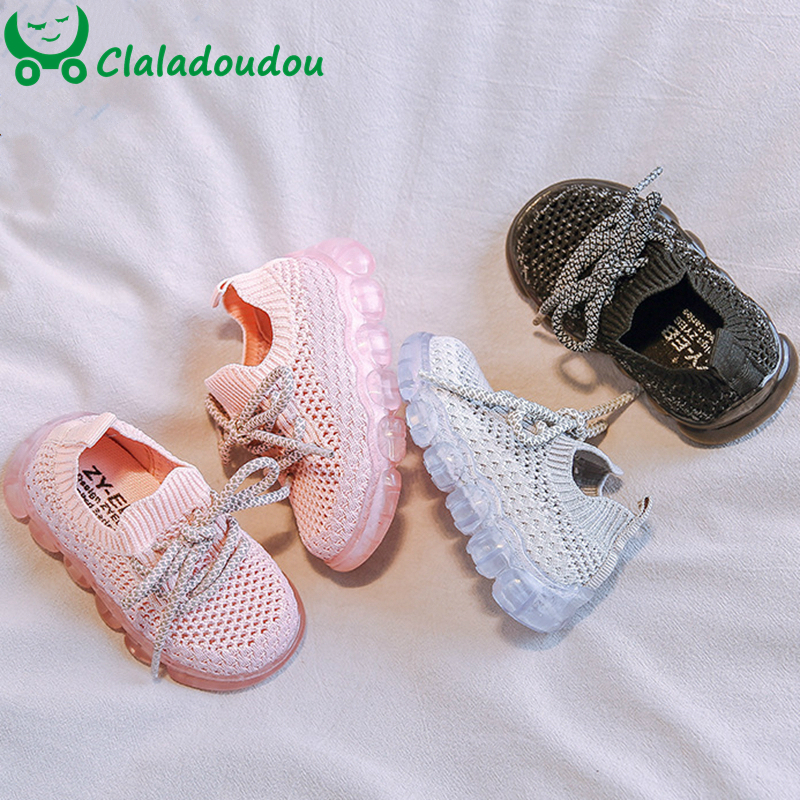 12-15.5cm Baby Boys Girls First Walkers Mesh Knitting Toddler Sneakers Black Gray Pink Slip-on Easy Wearing Kids Running Shoes