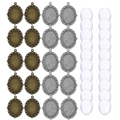 40pcs Oval Pendant Base Setting Glass Cabochons 18x25mm Cameo For DIY Jewelry Making Pendants Blank Tray Bezels
