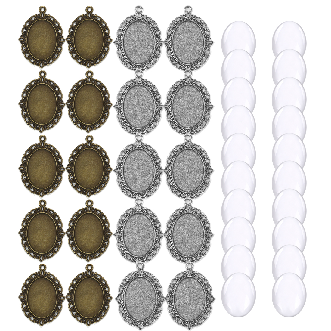 40pcs <font><b>Oval</b></font> Pendant Base Setting Glass <font><b>Cabochons</b></font> <font><b>18x25mm</b></font> Cameo For DIY Jewelry Making Pendants Blank Tray Bezels image