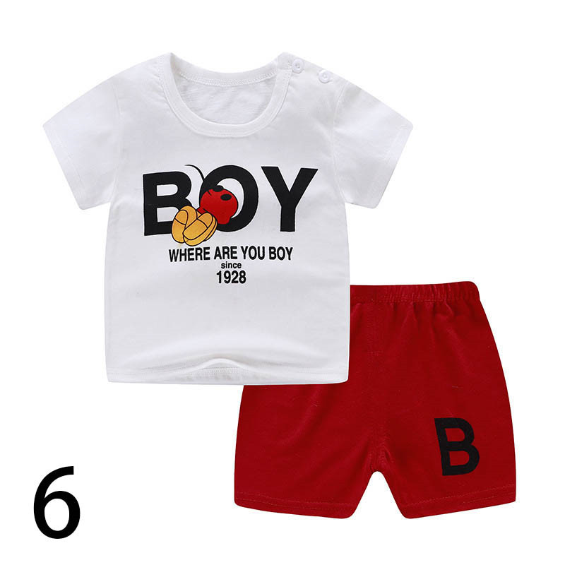 2020 Summer Boy Set Cartoon Cute Cotton Male Baby Set Toddler Boys Clothing Set Children Outfits Toddler Boy Kids Clothes TZ04