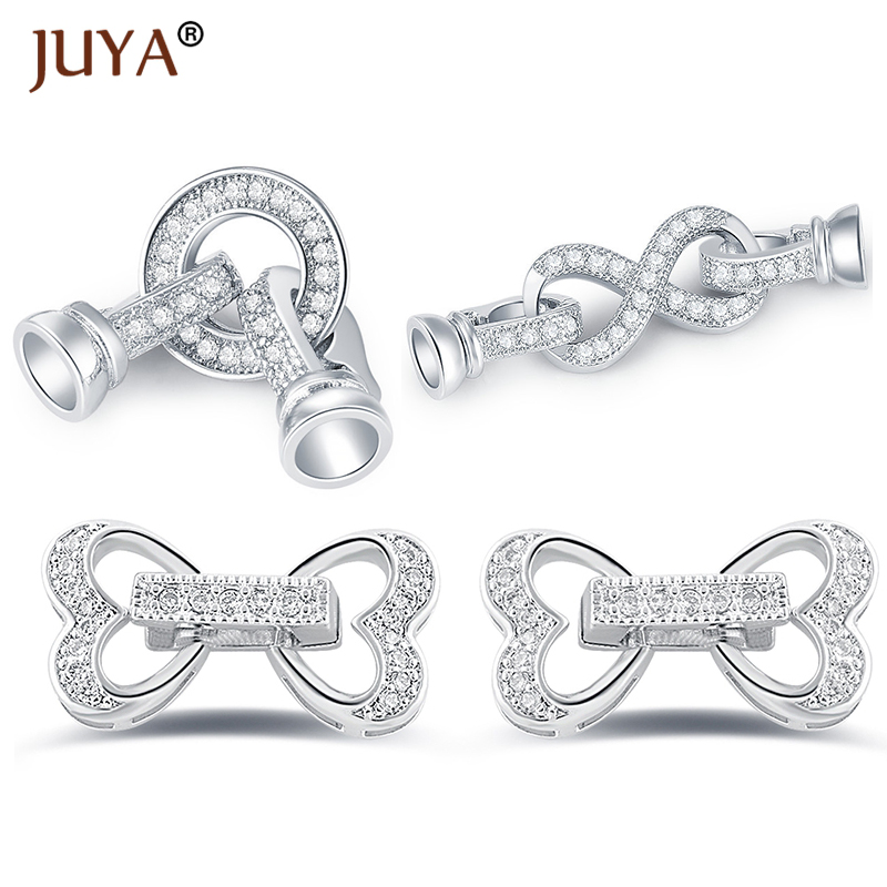 Clasps For Jewelry Making Fastening Accessories Copper Cubic Zirconia Infinity Clasps For DIY Pearls Necklace Bracelet Clasp