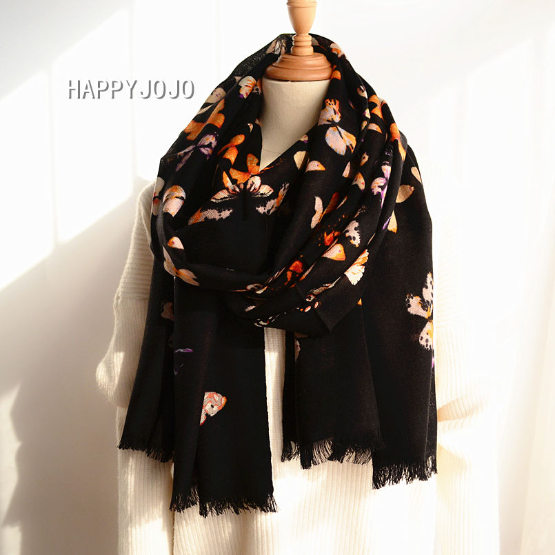 Wool scarf high quality black printed butterfly shawl soft feel thin chic fashion casual light luxury pashmina for women or lady|Women